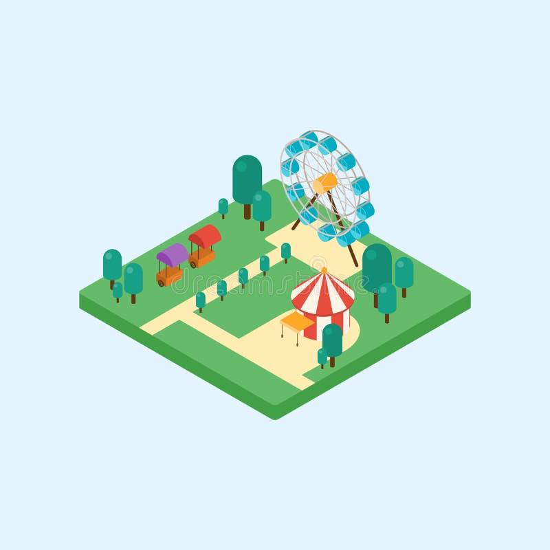 Diseño plano del arte isométrico del parque de atracciones ilustración del vector