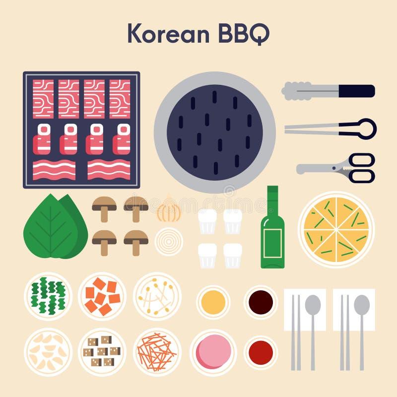 Diseño plano del Bbq del ejemplo coreano del vector ilustración del vector