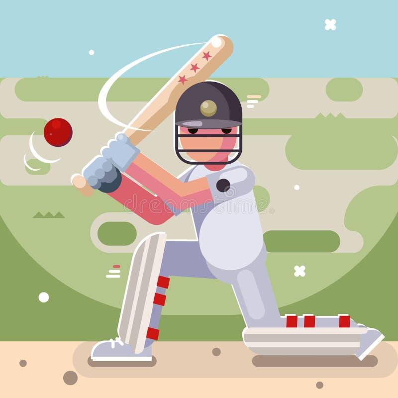 Diseño plano del carácter del campo de bola de bate de béisbol del bateador del grillo del juego del deporte del bateo libre illustration