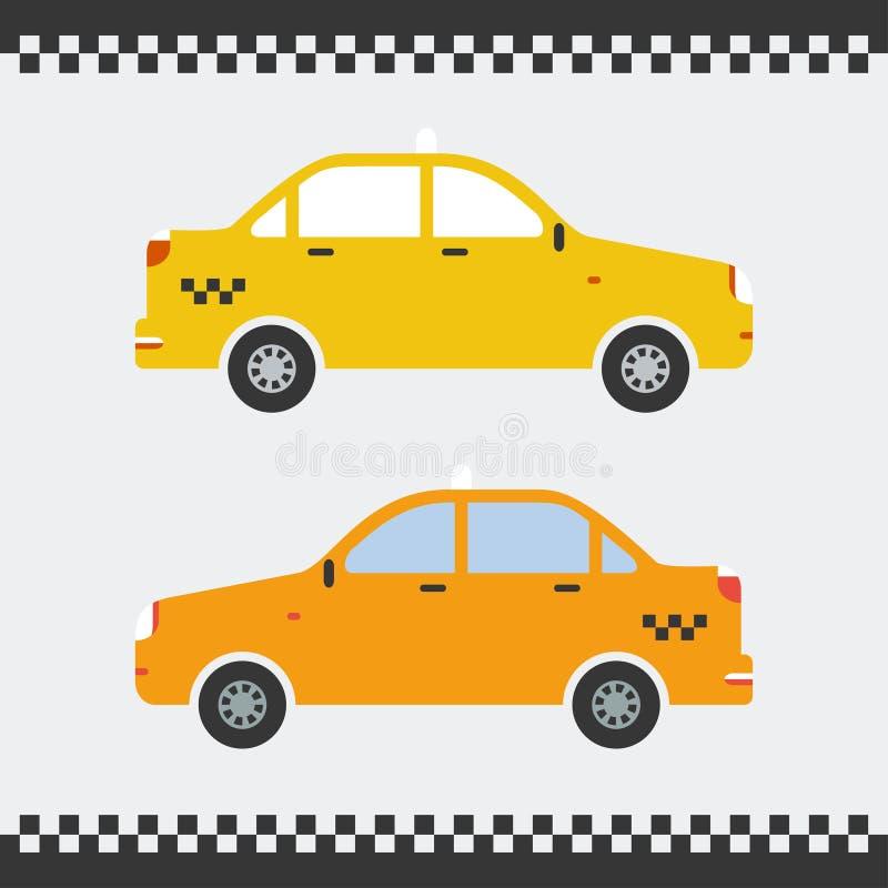Diseño plano del coche amarillo del taxi Ilustración del vector Fondo hermoso libre illustration