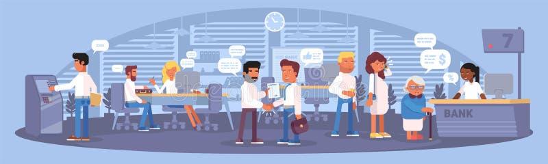 Diseño plano del color del panorama interior del banco Ilustraci?n del vector libre illustration
