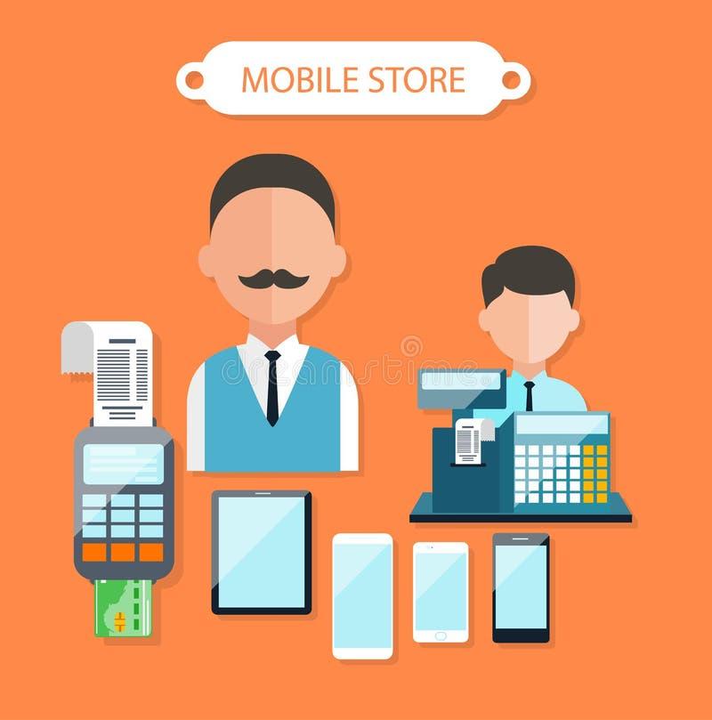 Diseño plano del concepto de la tienda móvil stock de ilustración