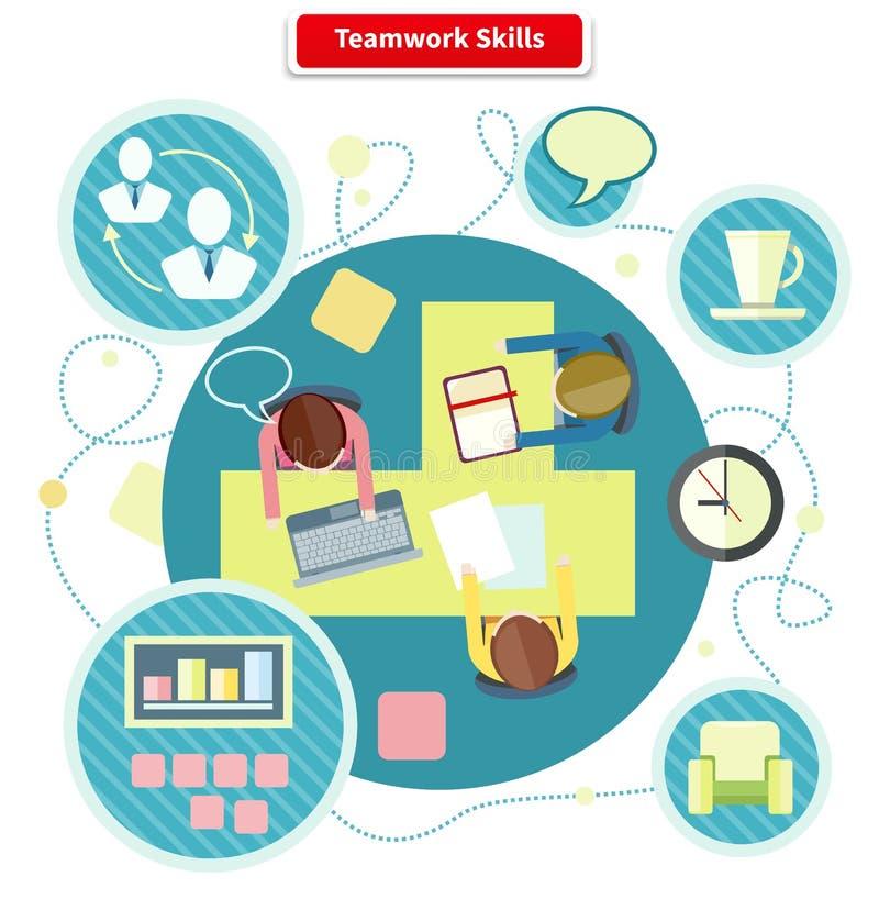Diseño plano del concepto de las habilidades del trabajo en equipo ilustración del vector