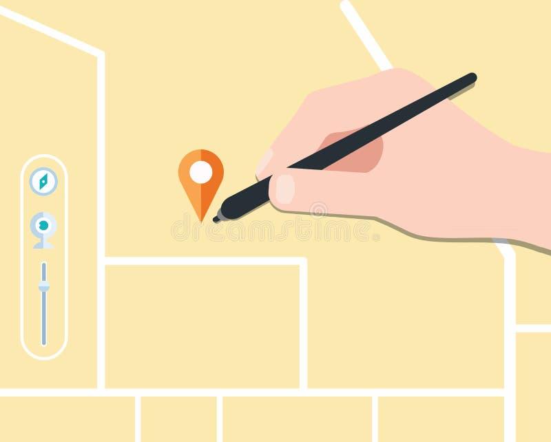 Diseño plano del concepto del mapa del hallazgo, ilustración del vector