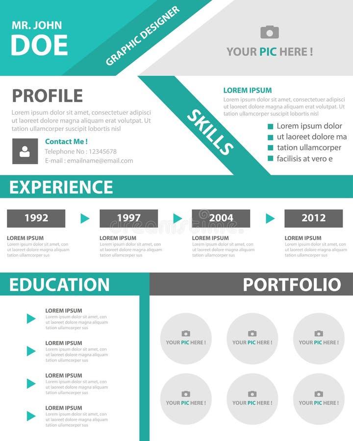 Diseño plano del curriculum vitae del negocio del perfil del CV del vitae de la disposición creativa elegante verde de la plantil stock de ilustración
