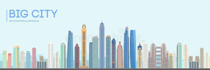 Diseño plano del edificio de la ciudad del vector Paisaje urbano urbano del horizonte Paisaje de la ciudad con los altos rascacie stock de ilustración