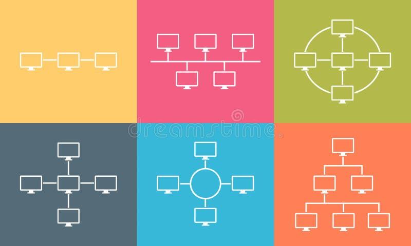 Diseño plano del ejemplo de la conexión a internet de la topología de red stock de ilustración