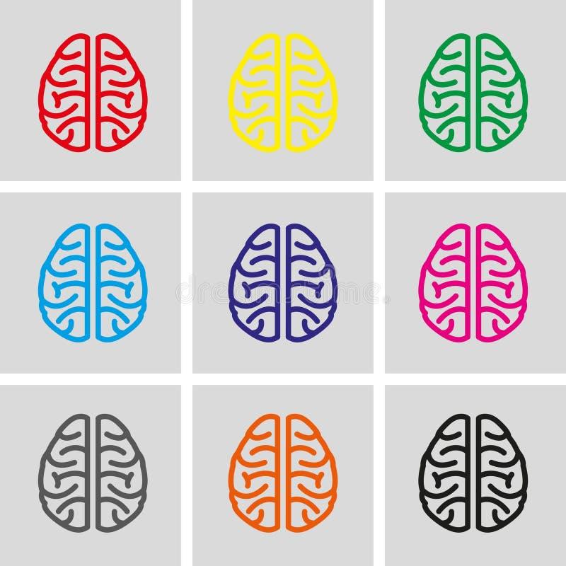 Diseño plano del ejemplo del vector de la acción del icono del cerebro libre illustration