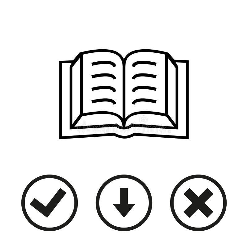 Diseño plano del ejemplo del vector de la acción del icono del libro stock de ilustración