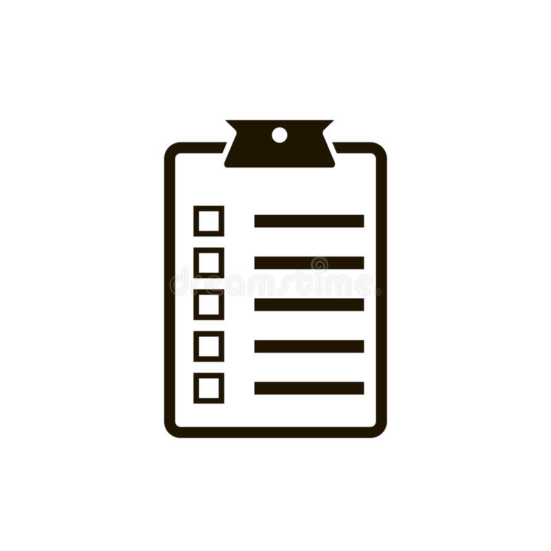 Diseño plano del ejemplo del vector del icono de la lista de control libre illustration