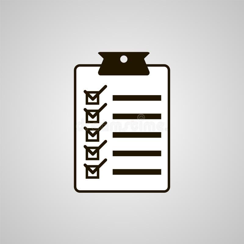 Diseño plano del ejemplo del vector del icono de la lista de control Cuestionario, s ilustración del vector