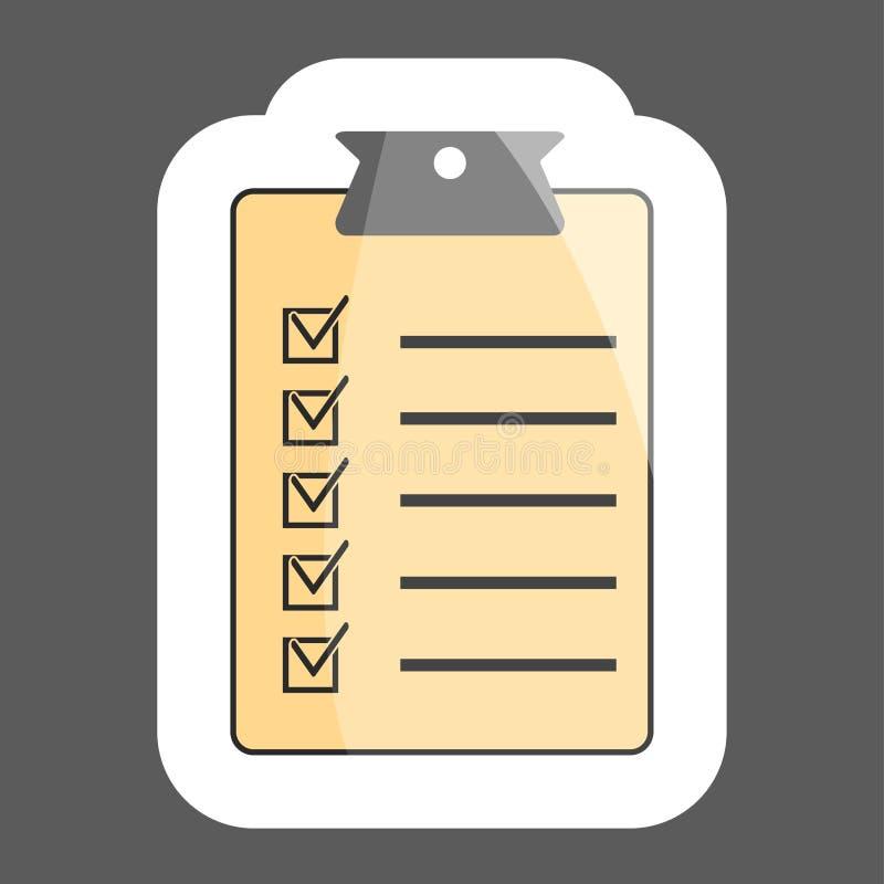 Diseño plano del ejemplo del vector del icono de la lista de control Cuestionario, s stock de ilustración