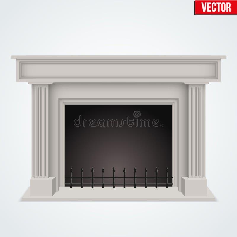 Diseño plano del estilo de la chimenea tradicional ilustración del vector