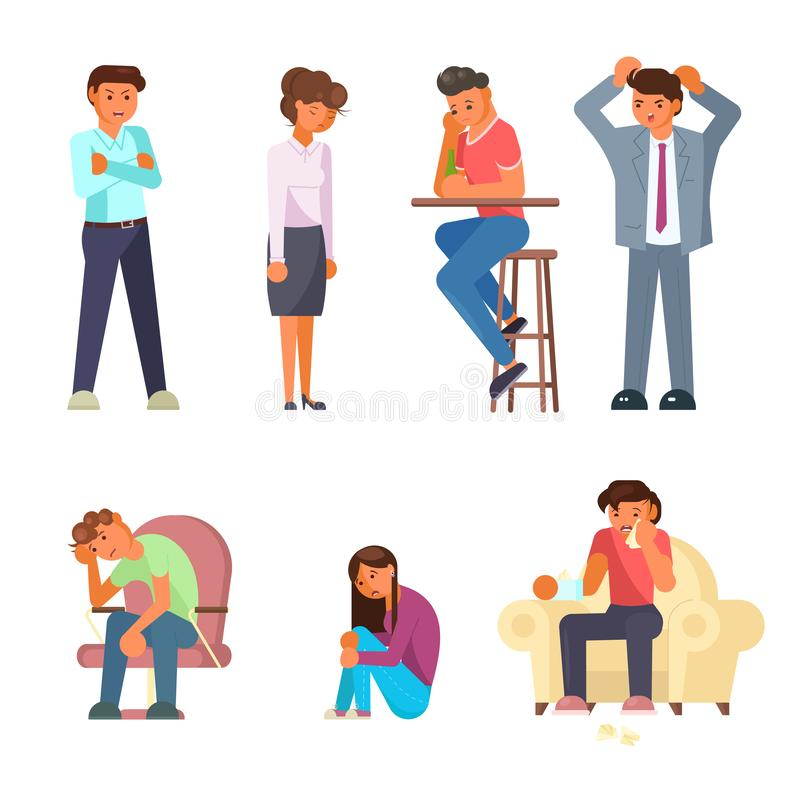 Diseño plano del estilo de la gente del vector determinado deprimido del icono libre illustration