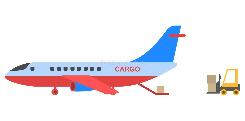Diseño plano del estilo del aeroplano del cargo ilustración del vector