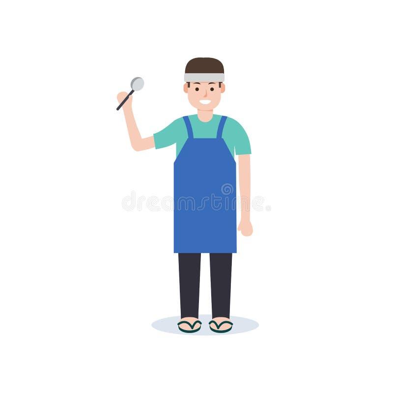 Diseño plano del estilo del hombre joven de curry del carácter mercantil tailandés del arroz ilustración del vector