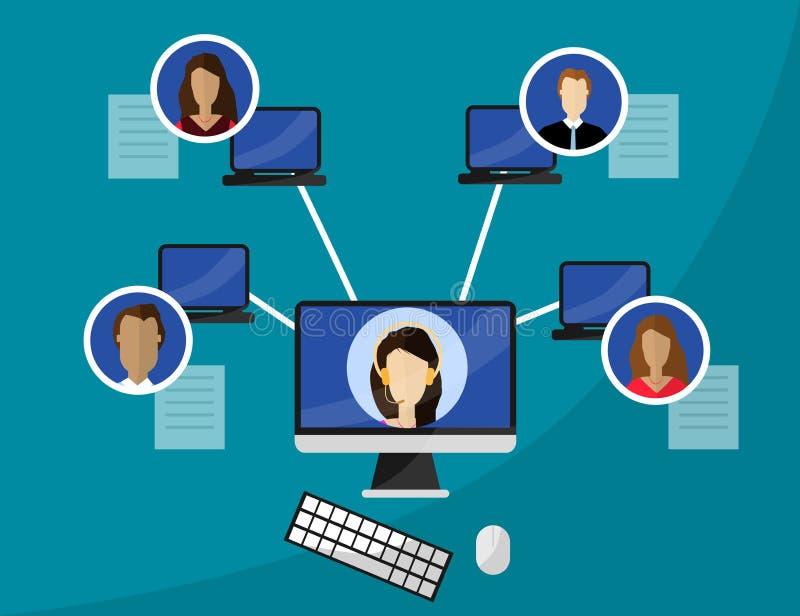 Diseño plano del estilo para la educación webinar, en línea en línea, concepto distante de la tecnología de la educación fotografía de archivo