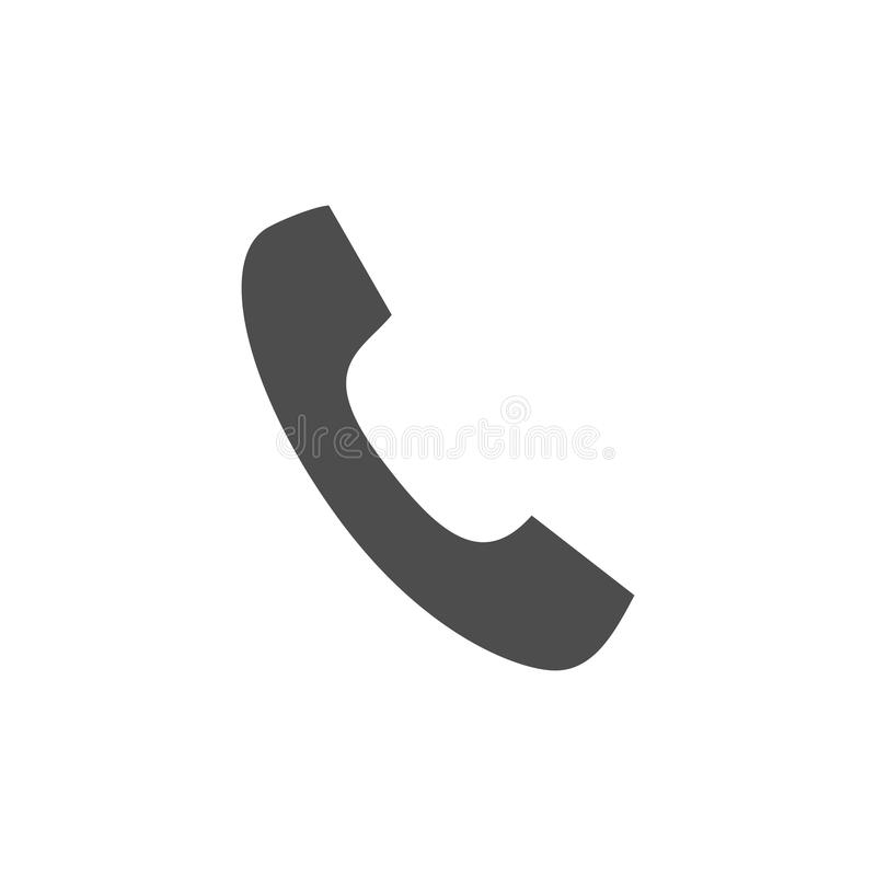 Diseño plano del estilo del símbolo del icono del vector del teléfono del microteléfono del teléfono para el logotipo, UI stock de ilustración
