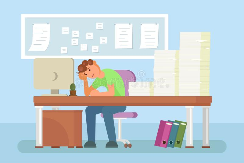 Diseño plano del estilo del vector deprimido del oficinista stock de ilustración
