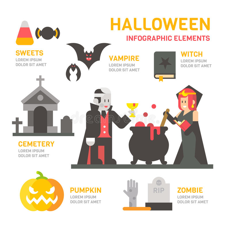 Diseño plano del festival de Halloween infographic ilustración del vector