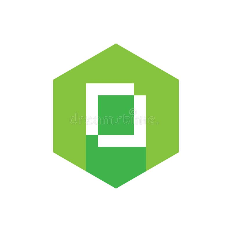 Diseño plano del icono del alfabeto O, combinado con hexágono verde, estilo largo de la sombra libre illustration