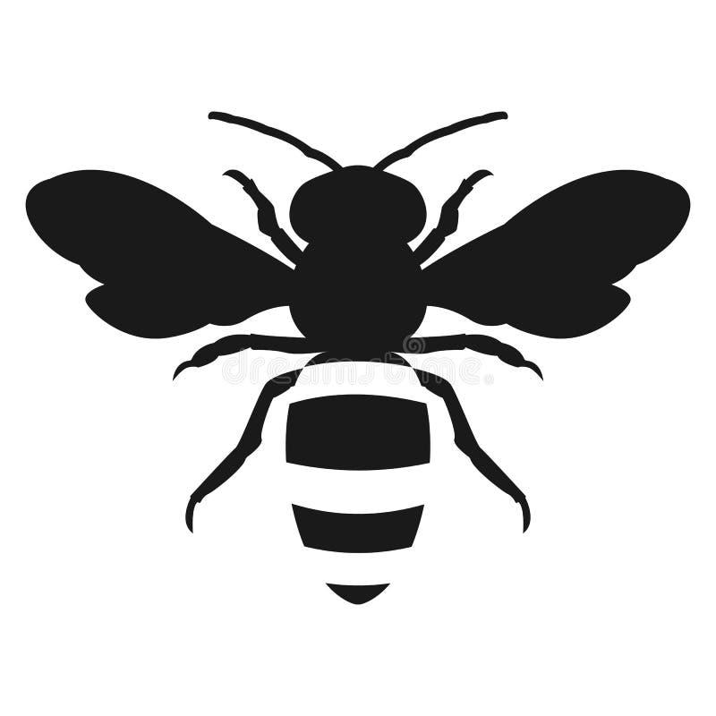 Diseño plano del icono de la abeja de la miel de la silueta libre illustration