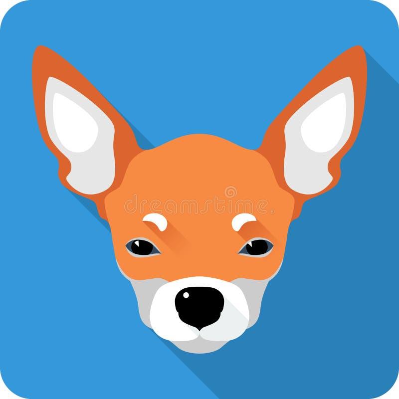 Diseño plano del icono de la chihuahua del perro ilustración del vector