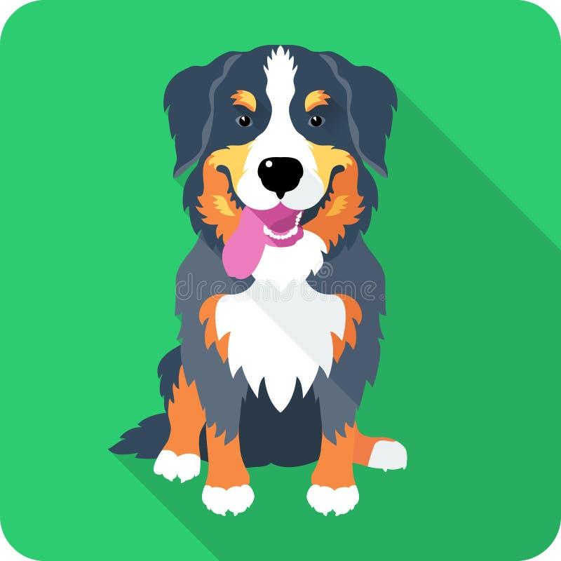 Diseño plano del icono del perro del perro de montaña de Bernese ilustración del vector