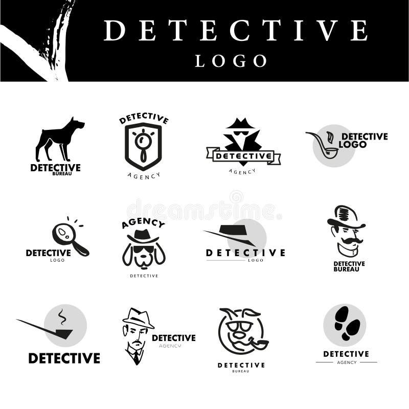 Diseño plano del logotipo de la agencia detective stock de ilustración