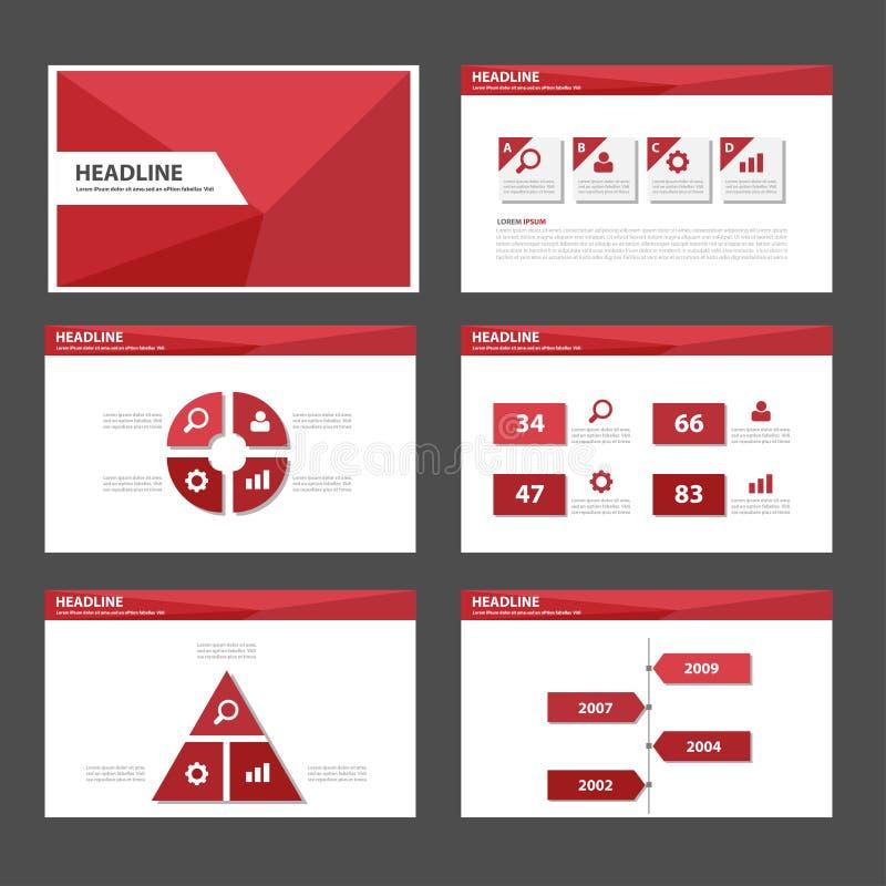 Diseño plano del polígono de la presentación del folleto del aviador del prospecto de la plantilla infographic multiusos roja del libre illustration
