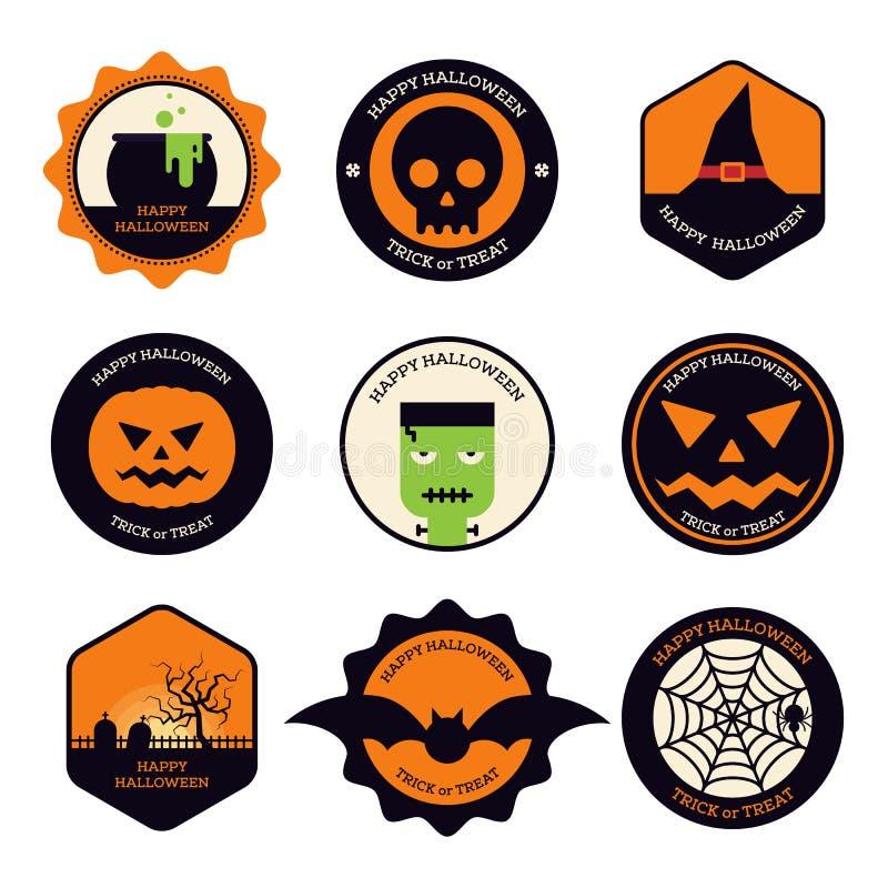Diseño plano del sistema de elemento del diseño de Halloween stock de ilustración