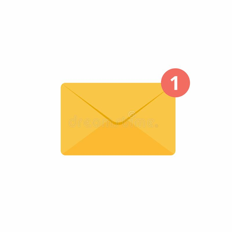 Diseño plano del sobre de la muestra amarilla de oro cerrada del icono con el nuevo ejemplo del vector del número de mensaje uno libre illustration