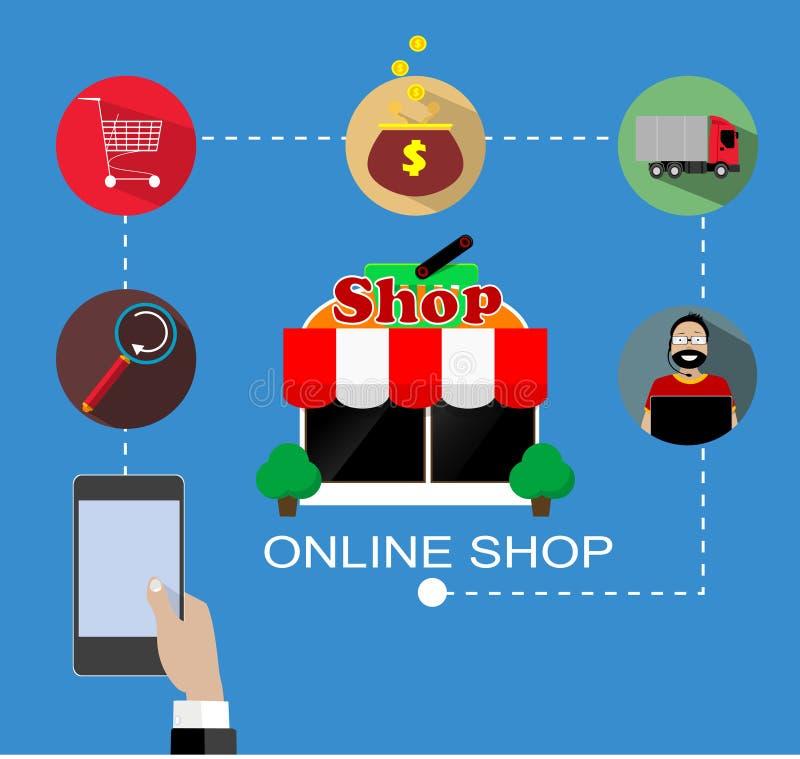 Diseño plano del vector con comercio electrónico y los iconos en línea de las compras y elementos para la historia móvil ilustración del vector