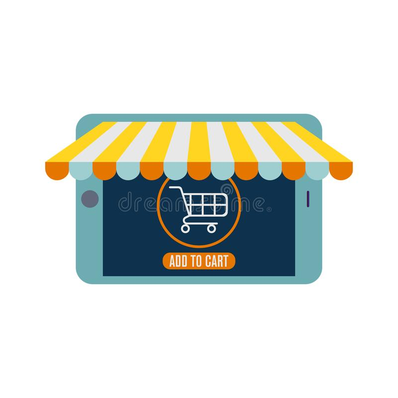 Diseño plano del vector con comercio electrónico y los iconos que hacen compras en línea y elementos para la tienda móvil en líne ilustración del vector