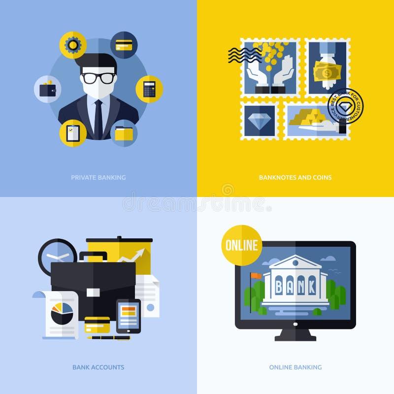 Diseño plano del vector con símbolos e iconos de las actividades bancarias stock de ilustración