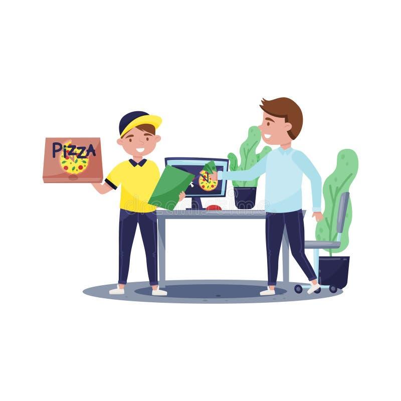 Diseño plano del vector de individuo del mensajero con la caja y el tablero de la pizza Cliente que paga efectivo de la orden Ser ilustración del vector