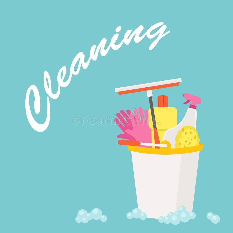 Diseño plano del vector de la limpieza libre illustration