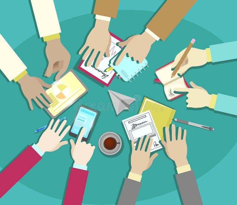 Diseño plano del vector de la reunión de negocios, manos del hombre de negocios en el trabajo de oficina ilustración del vector
