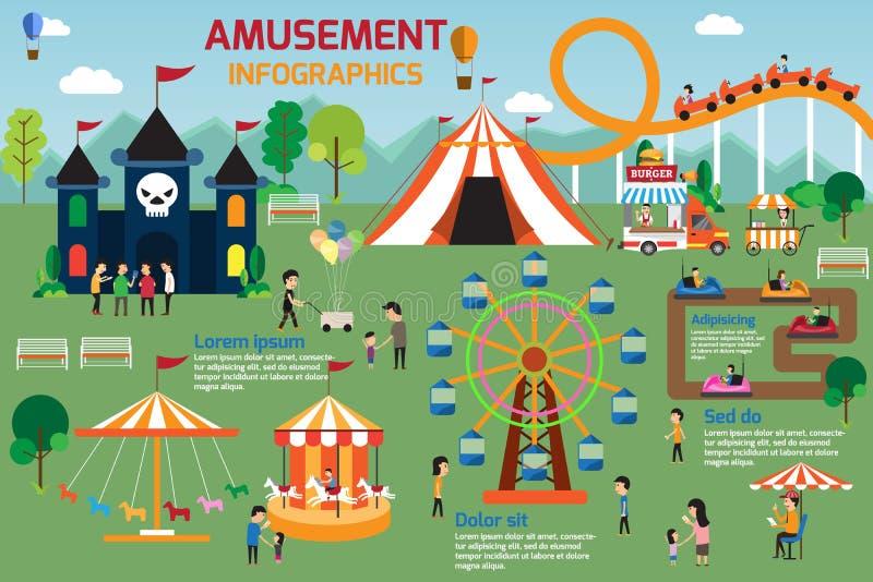 Diseño plano del vector de los elementos infographic del parque de atracciones Gente s stock de ilustración