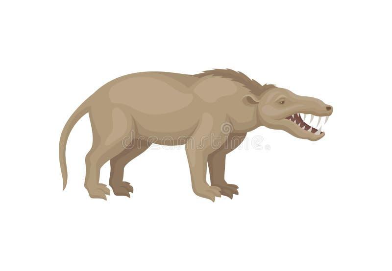 Diseño plano del vector de mesonychia Bestia prehistórica con la cola larga y los dientes agudos Animal extinto salvaje de la eda ilustración del vector