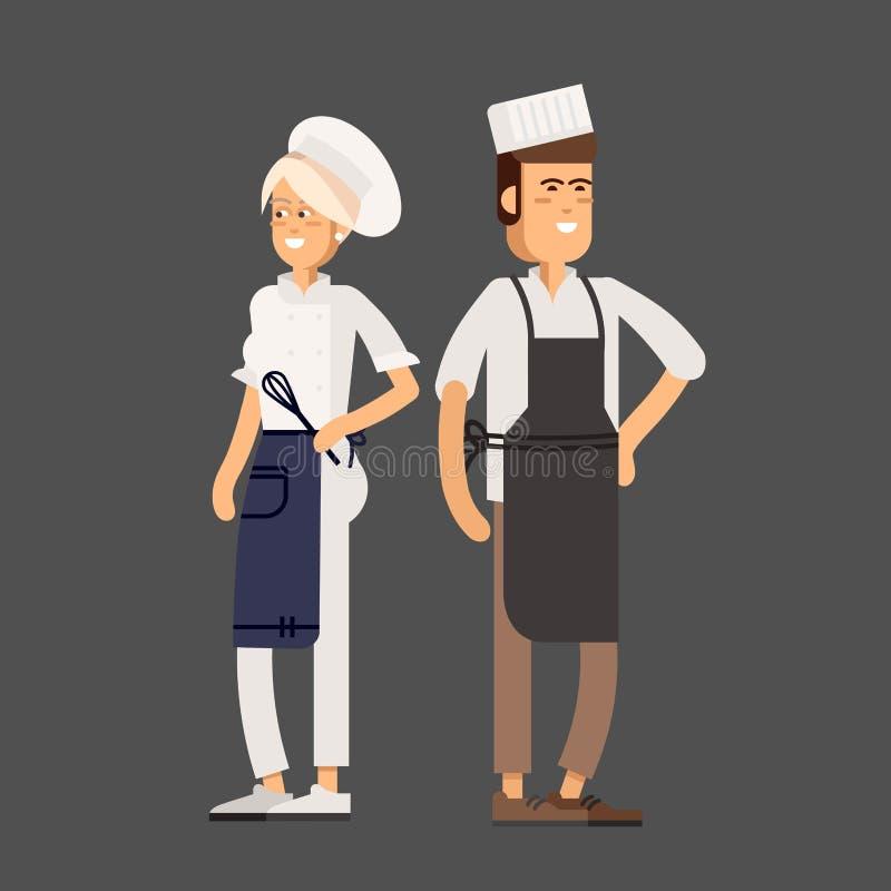 Diseño plano del vector fresco culinario y profesionales de la cocina libre illustration