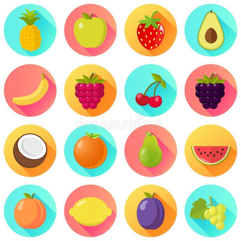 Diseño plano determinado del icono de la fruta de las frutas imagenes de archivo