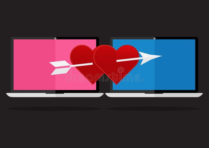 Diseño plano el corazón rojo con la flecha en onl del amor del cuaderno del ordenador portátil ilustración del vector