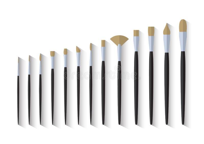 Diseño plano inmóvil de la brocha del artista stock de ilustración