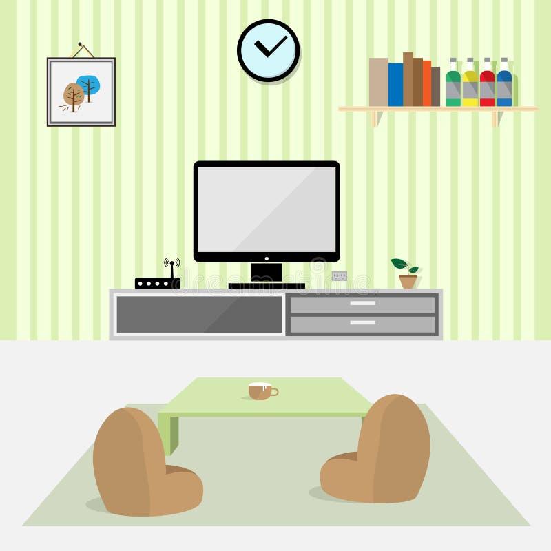 Diseño Plano Interior De La Sala De Estar Ilustración del Vector ...