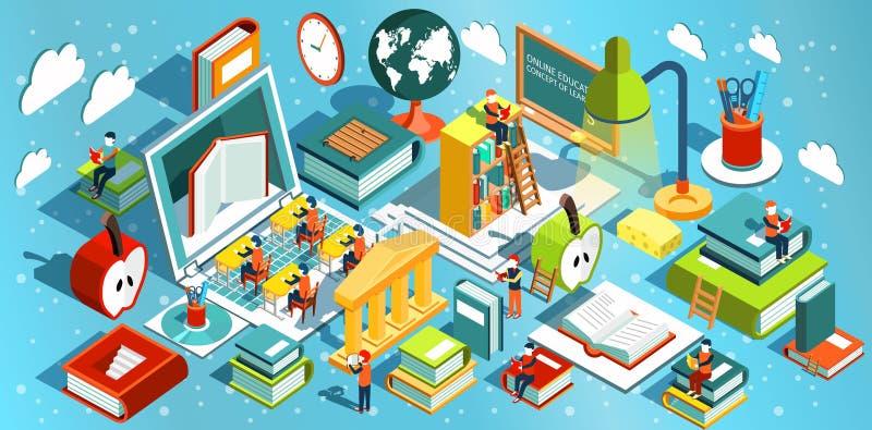 Diseño plano isométrico de la educación en línea El concepto de libros del aprendizaje y de lectura en la biblioteca y en la sala imagen de archivo