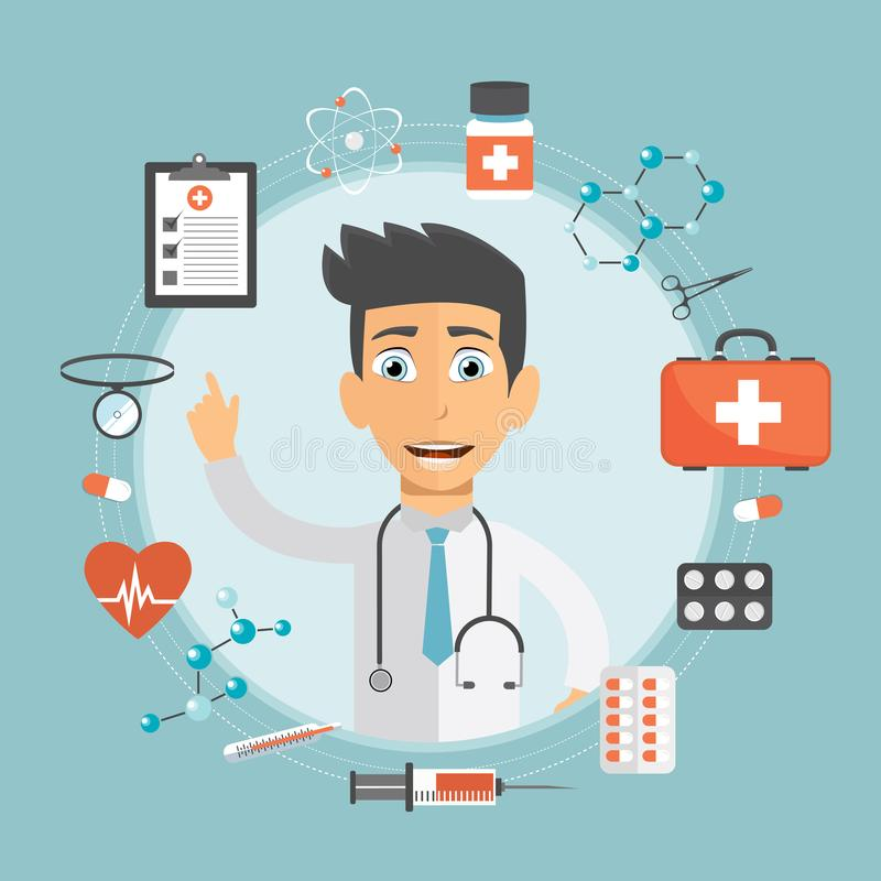 Diseño plano médico y app de la farmacia Concepto del cuidado médico Plantilla moderna para el teléfono elegante móvil o el sitio ilustración del vector