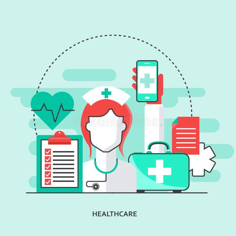 Diseño plano médico y farmacia En la línea tratamiento En la línea doctor Plantilla moderna para el teléfono o la web elegante mó ilustración del vector