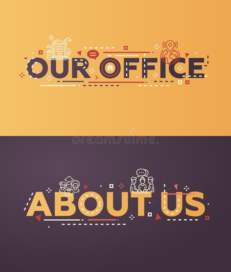 Diseño plano moderno nuestra oficina, sobre nosotros letras con los iconos stock de ilustración