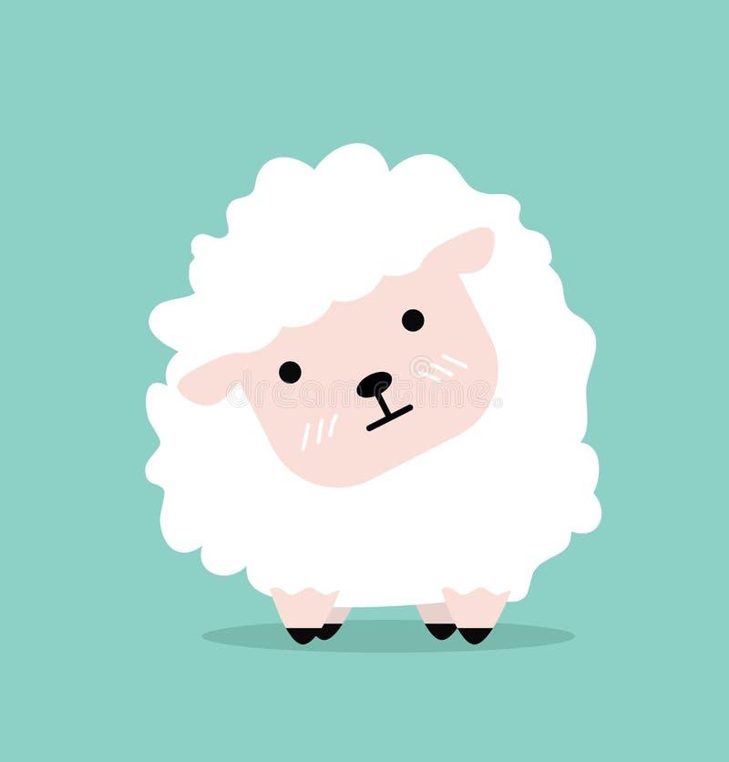 Diseño plano ovejas lindas de la historieta de las pequeñas ilustración del vector